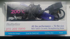 BaByliss Pro200Nano Hair Straightener, Travel Size, with Orig. Box, Only Used Once, Excellent Cond.