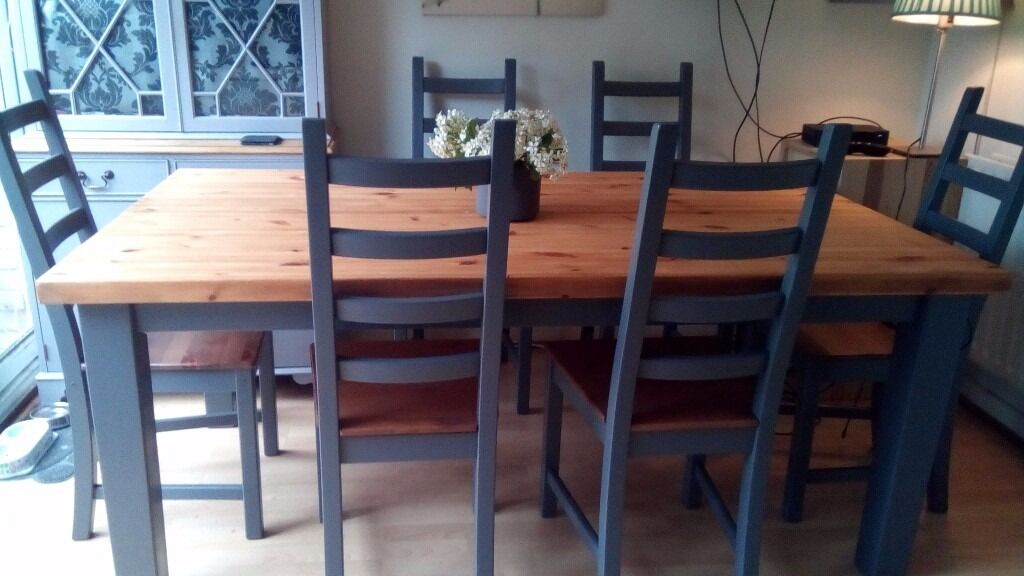 Farmhouse Dining Table with 6 chairs