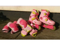 In line Skates adjustable to 3 sizes (8.5-10), 3 types of protectors and bag