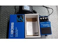 BOSS CS-3 Compressor Sustainer + BOSS mains unit, with original box & instruction leaflet