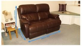 "Brown Leather ""Barbours"" Sofa - Electric Recliner"