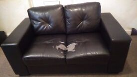 FREE 3 and 2 seater brown faux leather sofas