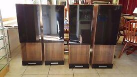 Modern Glass Front Walnut Veneer Wall Cabinets