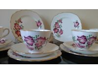 Pretty Sweet Pea China Tea Set for 4, ideal for Vintage Tea Party, Wedding or Dresser