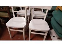 Set Of 4 White Wooden Kitchen Chairs