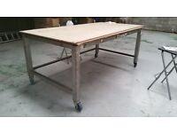 steel frame table on castors suitable for workshop
