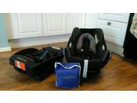 Maxi Cosi Cabriofix car seat, base and rain cover, fits on lots of pram, pushchairs