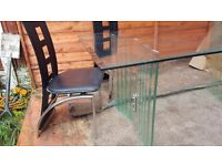 full glass dining table and 6 chairs,