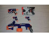 Bundle of nerf guns includes ammo and ammo clips