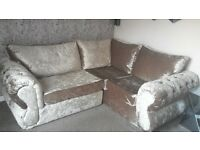 mink crushed velvet 7ft x 6ft corner sofa