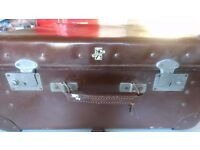 VINTAGE 1950S REV ROBE WARDROBE TRAVEL FITTED SUITCASE + FITTINGS KEY HESSIAN COVER CLASSIC CAR BOOT