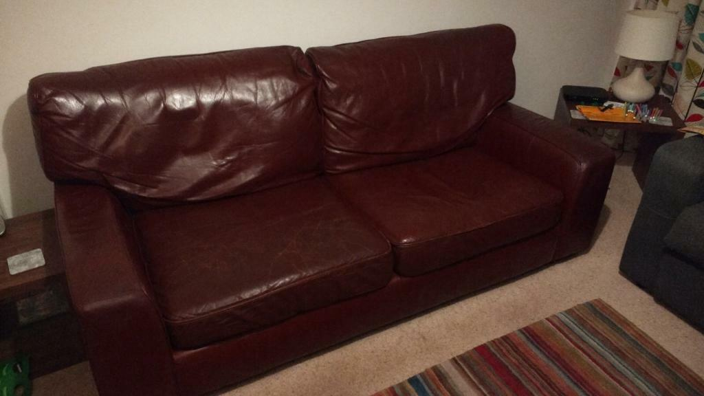 Free Marks & Spencer brown leather 3 seater sofa