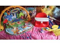Baby stuff piano gym,booster seat with tray& door swing