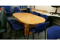 Oak effect boardroom table with 6 chairs