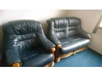 Blue leather sofas