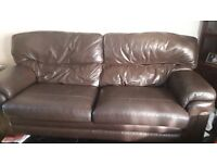 3 piece deals brown leather suite Great Condition