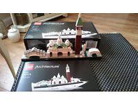 three sets of lego architect