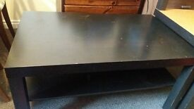 black coffee table and side tables