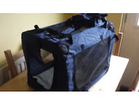 Lightweight Fabric Pet Carrier Crate with Fleece Mat and Food Bag, Large (dark blue)