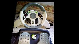 xbox 360 mc 2 steering wheel and pedals good condition brand new