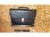 Faux Leather Black Laptop/Document case with shoulder strap