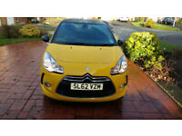 Low mileage, well looked after, Citreon DS3, yellow and Black