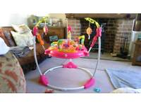 Fisher price pink petals jumperoo rain forest like new