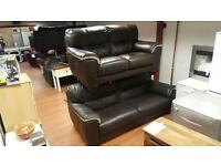 Harvey's 3&2 seater sofa in brown leather with a cream trim, mint condition £399