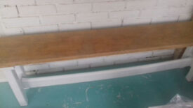 Shabby chic long bench solid wood oak Base finished in Chantilly paint . 6ft long