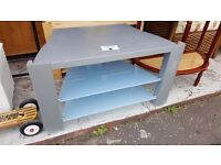 Silver-coloured and Blue Glass TV Unit in Great Condition