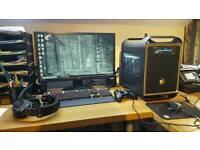 Gaming PC, monitor, wireless headphones
