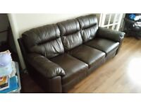 Brown leather DFS sofa and chair