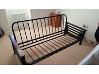 Black metal/wood double futon bed for sale
