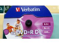 18 Verbatim DVD+R Dual Layer 8.5GB, 8 x write speed, printable on spindle