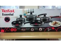 Tefal essential 5 pieces set brand new , never used still in box, worth 60 pounds