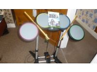 XBOX 360 Drums & drum sticks with Rock Band 2