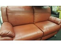 Jupiter Red Leather Electric Reclining 3 Seater sofa and Arm Chair