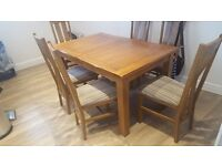 "Rustic Real Oak Dining Set - 4ft 7"" Extending Table with 6 Arched Back Chairs"