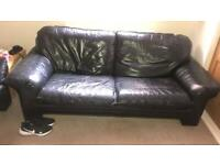 Black Leather 2x3 Seater sofa and black leather chair