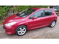 Peugeot 307, 1.6HDi Sport, Red, '56 Plate, Diesel, MoT til April, 97K miles, leather seats, CC, vgc.