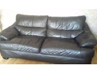 Dark brown leather 3 seater and armchair