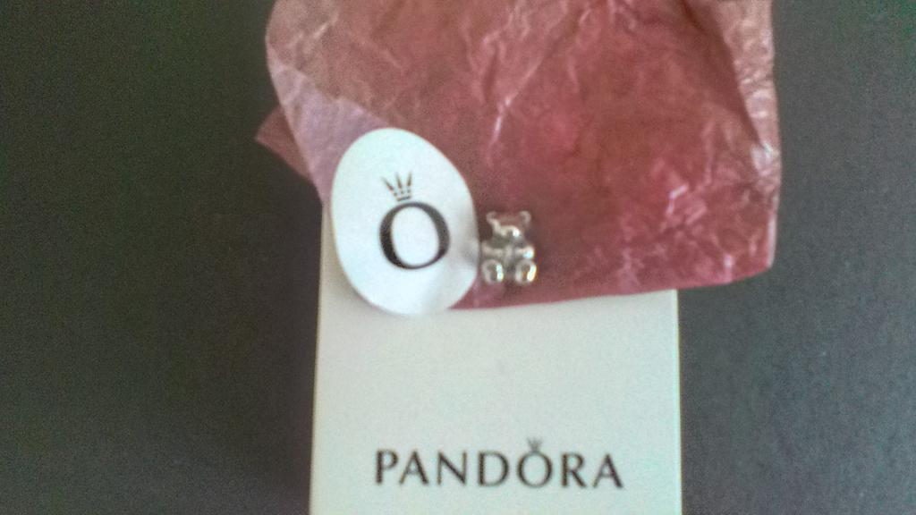 BRAND NEW GENUINE PANDORA SILVER TEDDY BEAR CHARM WITH PANDORA PACKAGING AND PANDORA BAG