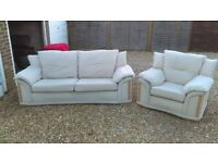 LARGE 3 SEATER SOFA AND ARMCHAIR SET. GOOD USED CONDITION, VERY SOFT AND COMFORTABLE