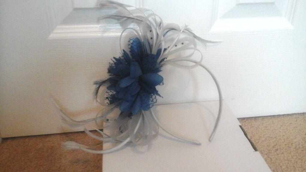 Blue   silver fascinator  6ab681779d4