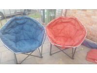 2 x large portable moon chairs, ideal for festival, events or garden.