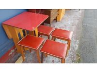 Retro Real Wood Red Drop Leaf Table with Four Matching Stools in Good Condition