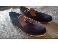mens navy suede and brown leather shoes with white soles. Size 12