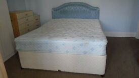King Size 5' Divan Bed with Headboard & Storage under