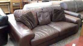large brown leather sofa with scatter cushions - Delivery Available