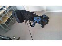 Full size set of slazenger irons/driver/mizuno putter/64 degree copper wedge/hippo stand bag